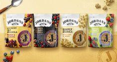 Breakfast cereal brand Jordans has revealed the new packaging design for its Granola range. Packaging Snack, Organic Packaging, Pouch Packaging, Food Packaging Design, Brand Packaging, Tee Design, Label Design, How To Make Granola, Berry