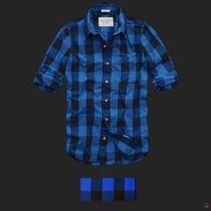 Leñadora Abercrombie & Fitch (couchsachraga long sleeve men plaid shirt royal blue and black).
