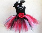 Pink Black White Pirate Pixie Tutu and Hat Costume by TiarasTutus