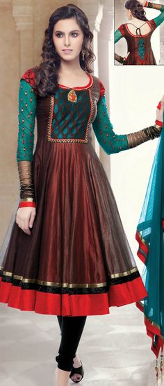 Burgundy and Dark Brown Chanderi Art #Silk Readymade Churidar Kameez @ $196.50