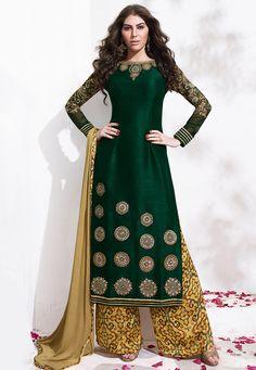 Buy Embroidered Art Silk Pakistani Suit in Dark Green online, work: Embroidered, color: Dark Green, usage: Festival, category: Salwar Kameez, fabric: Art Silk, price: $142.40, item code: KEJ560, gender: women, brand: Utsav