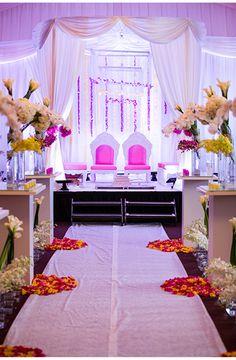 Our Muse - Vibrant Indian Wedding - Be inspired by Nirali & Kunal's vibrant Indian wedding - Aline Indoor Wedding Ceremonies, Wedding Mandap, Wedding Stage, Indian Wedding Decorations, Wedding Ceremony Decorations, Exotic Wedding, Desi Wedding, Indian Wedding Planner, Pakistan Wedding