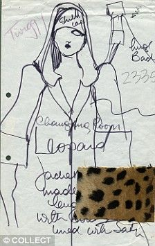ORIGINAL SKETCH BY BARBARA HULANICKI FOR TWIGGY AND THE LAUNCH OF BIBA MAGAZINE