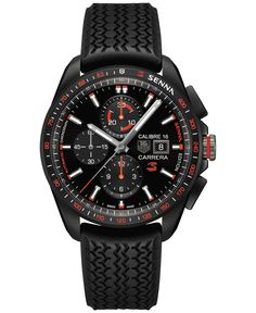 Tag Heuer Men's Automatic Chronograph Carrera Calibre 16 Senna Edition Black Rubber Strap Watch 44mm CBB2080.FT6042