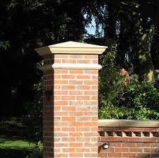 Red Brick Column With Pillar Cap Garden Wall Designs Brick Garden Edging Wall Exterior