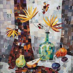 Купить Весенний натюрморт с грушами. Коллаж. - оранжевый, весна, весеннее настроение, весенние цветы, груши