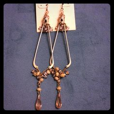 """New Kenneth Cole chandelier earrings 5"""" long Vince Camuto blue flats. Gold metal color with white, cream  and pink rhinestones Kenneth Cole Jewelry Earrings"""