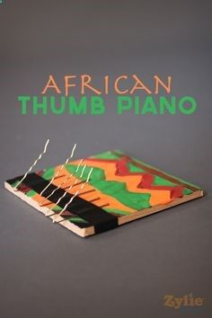 Here's a fun way for kids to learn about music from different cultures. The thumb piano is a popular instrument throughout Africa. Experiment with the sound made by having the pins at different distances apart. Paint it your favorite colors and get playin Preschool Music, Teaching Music, Music Crafts, Fun Crafts, Science Crafts For Kids, African Crafts, African Art For Kids, Homemade Instruments, Music And Movement