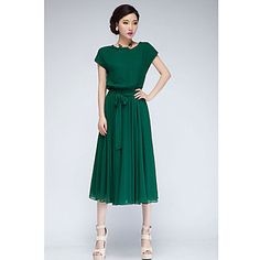 Vestido de Midi de la gasa de las mujeres con Auto-belt --- I just love the color and the old-fashioned style