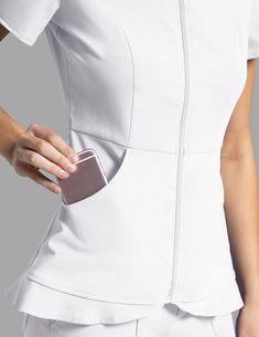 Medical Ruffle Hem Top in White - Medical Scrubs - Try tal Medical Uniforms, Work Uniforms, Scrubs Outfit, Cute Scrubs, Lab Coats, Medical Scrubs, Scrub Tops, Uniform Design, How To Wear