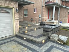 Beautiful front driveway and stairs done in interlocking stone by Pro-Loc interlocking and Landscape Design | via HomeStars
