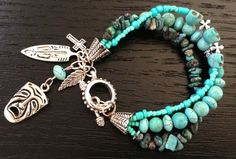Boho Chic Turquoise Skull Layered Beaded by MyOwnLittleNiche