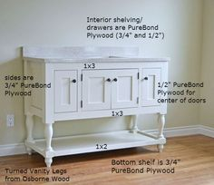 Gallery Website Turned Leg Vanity DIY plan from Ana White She used this for a bathroom vanity but would also make a lovely dining room sideboard minus the sink
