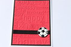 Soccer Birthday Card Sports Red Black White by RoyalRegards, $3.25