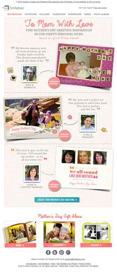 Smilebox email Mother's Day Staff Picks Email