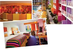 Using a palette of fourteen shades that represent the wildflowers indigenous to this desert region, the Saguaro Hotel in Palm Springs, California is alive with color. Inspired by Mexican architect Luis Barragan and created by Peter Stamberg and Paul Aferiat of Stamberg Aferiat Architecture