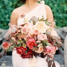 This bright Bohemian bouquet is the cherry on top of a mile-high sundae piled with electric, eclectic wedding details! Picture by Jen Huang.