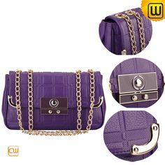Funky flapover leather clutch bags for women, special adjustable chain shoulder strap and snap closures, best quality women clutch bags all in leather bags store BAGS. Leather Clutch Bags, Shoulder Strap, Chain, Purple, Women, Leather Bum Bags, Necklaces, Viola, Woman