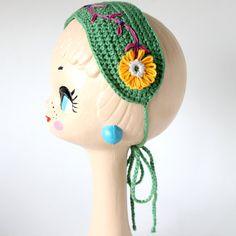 Summer Headband  Handmade crocheted in Green by lanusa