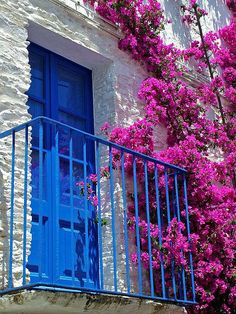 Blue, Hot Pink, and White Stairs Window, Doorway, Bougainvillea, Porch And Balcony, Spanish House, Spanish Bungalow, Stairways, Windows And Doors, Art And Architecture