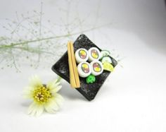 Black California Maki Sushi Ring - polymer clay food jewelry , food ring