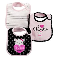 Just One You�Made by Carter's� Newborn Girls' 3 Pack Mouse Bib Set - Pink/Black
