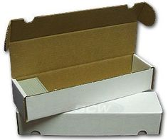 FIFTY (Bundle of 50) BCW 800 Count Corrugated Cardboard Storage Box - Sportscards, Gaming & Trading Cards Collecting Supplies by BCW. $37.50. The BCW Storage Box is the highest quality, most competitively priced cardboard storage box on the market today. They are constructed of white corrugated paper and have a 200 lb. test strength. Use this box for store and protect collectible trading cards like: baseball cards, basketball cards, football cards, Magic The Ga...