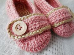 Crochet Pink and Tan Toddler's Slippers by HookandYarnDesigns, $15.00