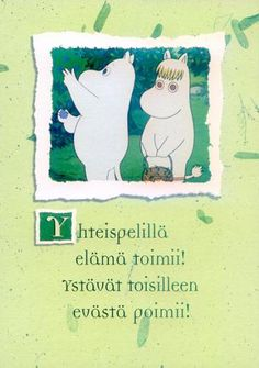Moomin postcard (unsure what the writing means)