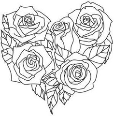Rosy Heart_image Rose Coloring Pages, Adult Coloring Pages, Coloring Books, Heart Rose Drawing, Urban Threads, Stencil Designs, Heart Art, Flower Art, Embroidery Patterns