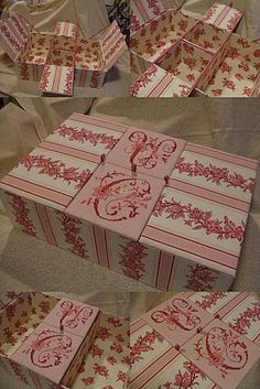 Another pretty box. Fabric Covered Boxes, Fabric Boxes, Origami Printables, Cardboard Box Diy, Diy Paper, Paper Crafts, Vintage Hat Boxes, Craft Station, Paper Magic