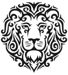 Lion Face Curls Tattoo SVG Picture