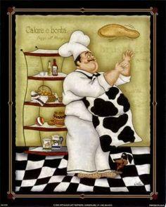 Tossing Chef by Dena Marie art print Decoupage Vintage, Decoupage Paper, Vintage Diy, Chef Kitchen Decor, Kitchen Themes, Kitchen Art, Chef Pictures, Kitchen Pictures, Retro