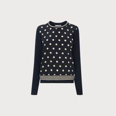 940a6832faf41 LK Bennett Cyrus Navy Merino Jumper Navy Sweaters