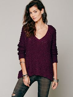 Free People Purple Shaggy Knit Pullover