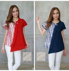 Batik Kebaya, Batik Dress, Blouse Batik Modern, Dress Batik Kombinasi, Fashion Dresses, Fashion 2017, Womens Fashion, Color Blocking Outfits, Dress Brokat