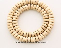 15 Strand 8x4mm Wood Beads RONDELLE  by WholesaleBeadsNCords