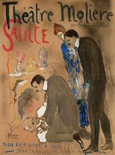 Pablo Picasso - Théâtre Molière Sainte Roulette. Painted in Paris, 1904. Gouache and watercolor on paper laid down on panel, 46¾ x 34¾ in. (118.5 x 88 cm.).