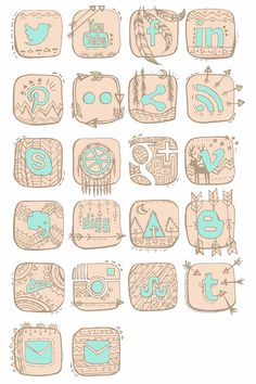 Native American Trendy Social Networking Icons - Series by Christen Cushing, via Behance
