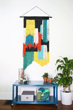 (Fast + Easy!) Large Tapestry Wall Hanging DIY. Use your favorite Lion Brand yarns. No weaving skills required!