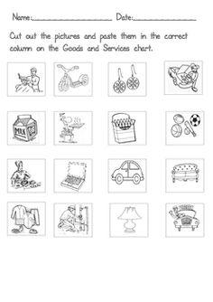 Goods and services worksheets for kindergarten