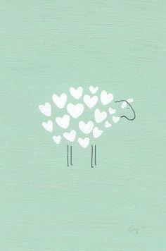Original Illustration: Sweet little sheep Art And Illustration, Illustration Mignonne, Art Illustrations, Sheep Art, Grafik Design, Cute Wallpapers, Stunning Wallpapers, Art Paintings, Creations