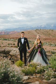 desert weddings - http://ruffledblog.com/bejeweled-wedding-inspiration-with-a-black-and-white-gown