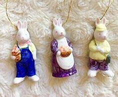 "Set 3 Vintage Silvestri Rabbit Bunnies Porcelain Ornaments 3""Christmas Easter | eBay"