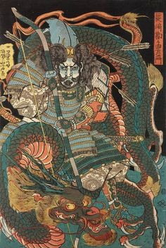 Utagawa Kuniyoshi - oban tate-e. Nagasaki Kangayu-saemon, holding a large bow, riddled with arrows, and enveloped by a dragon. Japanese Art Prints, Japanese Art Modern, Japanese Drawings, Traditional Japanese Tattoos, Japanese Artwork, Japanese Tattoo Art, Japan Illustration, Japan Tattoo Design, Arte Ninja