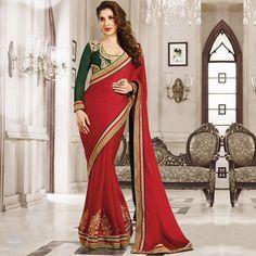 Stylish Red Saree