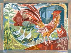 """Mark Hearld's """"The Rooster & Railway Carriage"""" lithograph"""