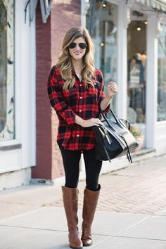 c72738cbb5f what to wear with leggings - plaid tunic button up and riding boots for a  casual