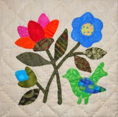 """Songs of Spring,"" blocks by Lori Smith , outer border by me, is hand quilted and bound.just in the nick of time to be my sec. Quilt Block Patterns, Applique Patterns, Applique Quilts, Applique Designs, Quilt Blocks, Hand Applique, Flower Applique, Wool Applique, Embroidery Applique"