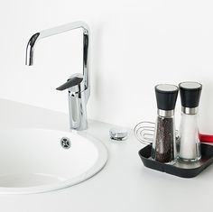 Oras remote valve for dishwasher or washing machine. The product consists of Smart Press Pad, control unit and electronic valve.  Kitchen faucet: Oras Optima